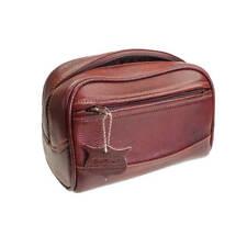 Parker Safety Razors - Large Brown Leather Travel Wash Bag
