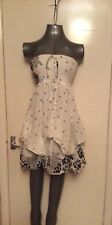 IZABEL, UK 6, EUR 34, WHITE & BLACK STRAPLESS SUN DRESS, BNWT