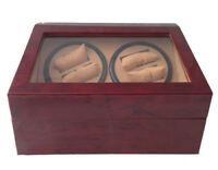 (4) + 6 AUTOMATIC DUAL DOUBLE QUAD WATCH WINDER BURLWOOD WOOD DISPLAY BOX/CASE