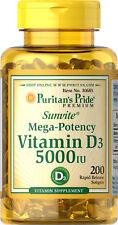 Puritan's Pride Mega-Potency Vitamin D3 5000 IU (200 Softgels)