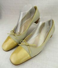 Amalfi For Nordstroms Italy Tan Patent Leather Bow Cap Toe Fabric Women's US 9 B