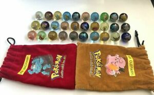 Pokemon Marbles - Vintage 1998 Glass - Pouch Bags - You Choose - Toy Biz