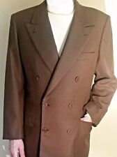 BRIONI Micro Hounds-Tooth LUXURY WOOL DOUBLE-BREASTED 2-Piece BROWN SUIT 40 EUC