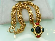 Monet Vtg Mogul Egyptian Glass Scarab Jade Maltese Cross Pin Byzantine Necklace