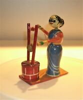 Antique Japanese Traditional Cultural Toy Lacquered Wood Koheshi Woman & Child