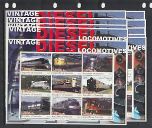 Trains Locomotives Transport 2002 Somalia MNH 9 v M/s 3 perf  X 10 Wholesale lot