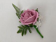 wedding buttonholes rose flower bouquets ivory purple groom fern single man