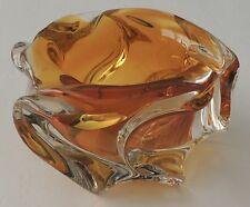 Art Glass Honey Amber Blown Glass Swirl Design Ashtray Marked Prague Ham