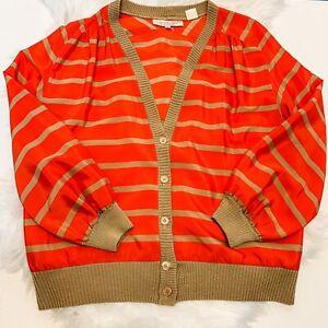 Vintage SCHRADER SPORT Satin Cardigan Jacket SIZE 6 1970s Orange Gold Tan Silky!