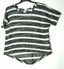 BLACK WHITE STRIPED LADIES CASUAL TOP SIZE 12 MISS SELFRIDGE