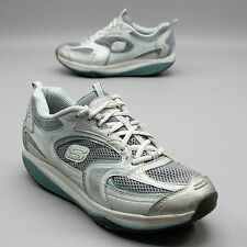 Skechers Shape-ups Ladies Size 10 Walking Toning Fitness Blue Silver Sneakers