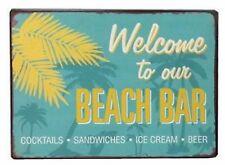 Retro Blechschild Welcome to our Beach Bar Nostalgie Deko Strand Pool Bier