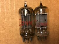 Matched Pair RCA 12AU7 Tubes 1957 Long Plate D Getter Test Great #D