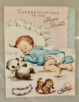 Vintage Greeting Card Baby Congratulations From 1950's, Preowned