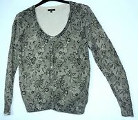 LADIES CASUAL TOP STRETCHY CARDIGAN SIZE 14 PAPAYA FLORAL GOLD BLACK