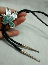 turquoise coral inlay bolo tie no.2 Nice Native american Navajo sterling eagle