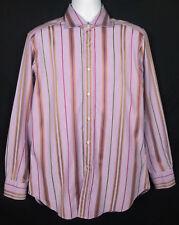 Etro Milano Shirt Men's Sz 40 (M) Long Sleeve Button Front Striped Cotton Italy