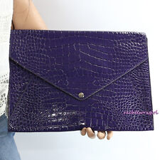 NWT Coach Legacy Croc Embossed Purple Leather iPad Case Folio 67284 Black Violet