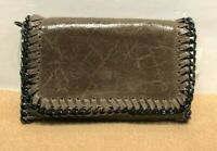 NWT Borse in Pelle Crackled Sandy Brown Genuine Leather Gunmetal Chain Bag Italy