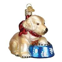 YELLOW LAB LABRADOR PUP PUPPY DOG OLD WORLD CHRISTMAS GLASS ORNAMENT NWT 12458