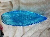Vintage Aqua Blue Boat Shaped Relish Dish Bowl Pressed Glass Sawtooth Edge