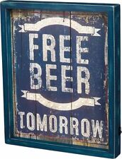 """Primitive by kathy LED Wood Box Light Up Sign FREE BEER TOMORROW"""""""
