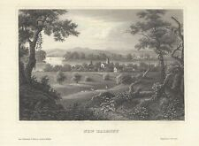 NEW HARMONY, INDIANA Antique Art Print 1850 Steel Engraving