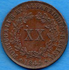 Portugal 1849 20 Twenty Reis Coin KM #482 - EF