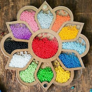 Bead container Bead organizer tray Wooden container with cover beading tools