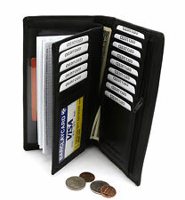 Bifold Large Black Genuine Leather Credit Card Checkbook Holder Wallet w/ Zipper