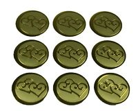 """GOLD Double HEARTS Print Wedding Round 1"""" Stickers CHOOSE PACKAGE AMOUNT"""