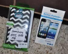 NIB-Black White Zigzag Hard Plastic Case & Screen Protector-Samsung HTC One M8