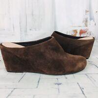 Taryn Rose Womens Brown Suede Leather Mule Wedge Heels Sz US 9 ~ EUC