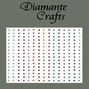 240 x 1mm Mixed Colour Diamante Self Adhesive Rhinestone Body Nail Vajazzle Gems