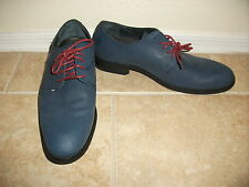 Peguin Bryan Mens 10 Blue Leather Red Lace Up Dress Casual Shoes