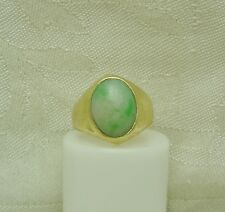 14K Yellow Gold Natural White & Green Jade Man's Ring Size 6.5 Oval Shape N99-I