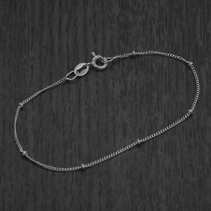 Genuine 925 Sterling Silver Beaded Curb Chain Bracelet