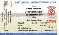 Ticket - Hartlepool United v Leeds United 26.12.07