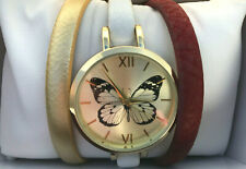 Ladies Butterfly Interchangable Tan White Gold Strap Watch