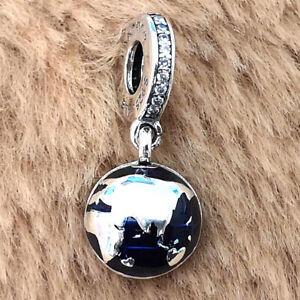 Authentic 925 Sterling Silver Blue Planet Dangle Charm Fit Moments Bracelets