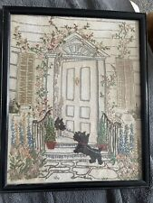 More details for antique sampler scottie dogs house flowers beautiful. not dated