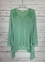 Umgee Boutique Women's M Medium Aqua Mint Lace Long Sleeve Spring Tunic Sweater