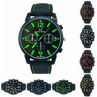 New Silicone Fashion Mens Boys Quartz Wrist Watch Analog Sport Black Watches