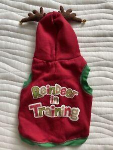 "Dog Hoodie Christmas S ""Reindeer in Training"" Holiday Blitzen Antlers Simply Dog"