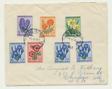 NETHERLANDS 1953 FLOWERS SET+EXTRA HI VALS ON FIRST DAY COVER (SEE BELOW)