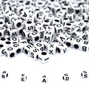 100/500 Alphabet Letter Beads White, Black Hole Mixed Dummy Clips, Bag and Kit