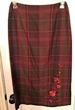 HARRIS WALLACE NEW YORK Women's  Long Plaid Straight Zipper Lined Skirt Size 8P