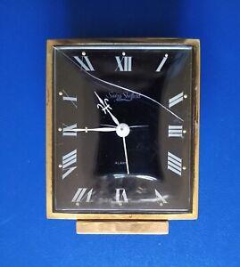 Vintage Swiza Sheffield Swiss Table Alarm Gold Tone Brass Clock Not Working