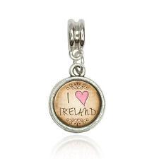 I Heart Love Ireland Vintage Euro European Italian Style Bracelet Bead Charm