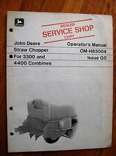 John Deere Straw Chopper 3300 and 4400 Combine operators Manual Jdj3